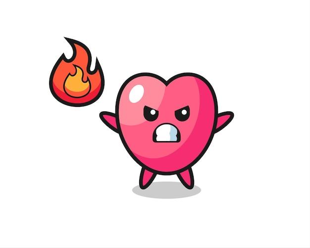 Hartsymbool karakter cartoon met boos gebaar, schattig stijlontwerp voor t-shirt, sticker, logo-element