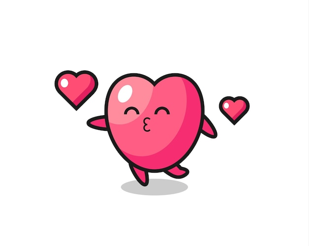 Hartsymbool karakter cartoon met kussend gebaar, schattig stijlontwerp voor t-shirt, sticker, logo-element