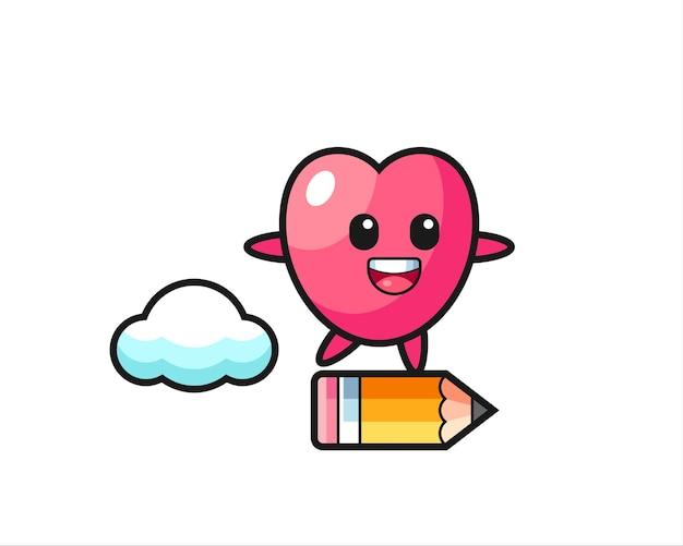 Hartsymbool mascotte illustratie rijden op een gigantisch potlood, schattig stijlontwerp voor t-shirt, sticker, logo-element