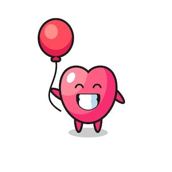 Hartsymbool mascotte illustratie speelt ballon, schattig stijlontwerp voor t-shirt, sticker, logo-element