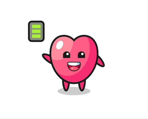 Hartsymbool mascotte karakter met energiek gebaar, schattig stijlontwerp voor t-shirt, sticker, logo-element