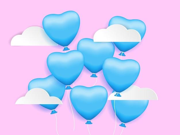 Hartvorm ballon in de lucht, valentijnsdag