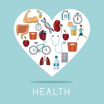 Hartvorm frame met iconen van gezondheidselementen