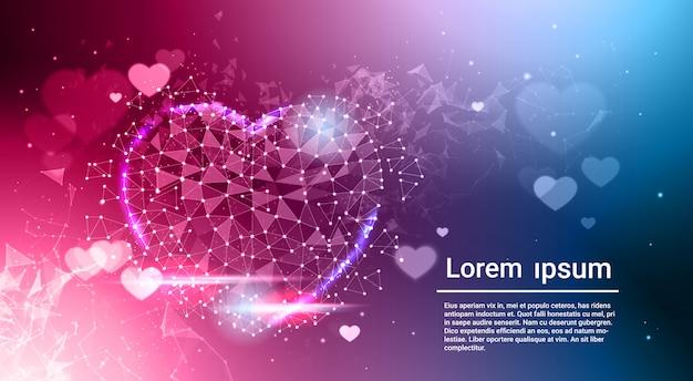 Hartvorm laag poly donkerblauw gloeiend abstract liefdesymbool over bokeh achtergrondsjabloon