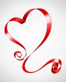 Hartvorm van krul lint romantische kaart voor valentijnsdag