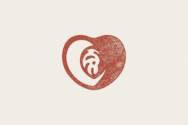 Hartvormig gehalveerd perziksilhouet voor handgetekend stempeleffect van het logo