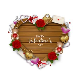 Hartvormig houten bord met valentijn versieringen