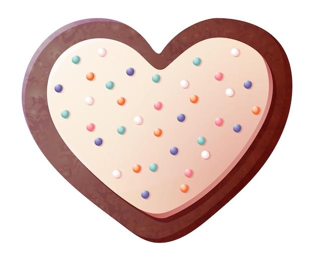 Hartvormig koekje. zoete valentijn koekjes gebak geïsoleerd op witte achtergrond