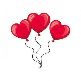 Hartvormige ballonnen geïsoleerde pictogram