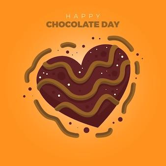 Hartvormige chocolade karakter vector - happy chocolate day