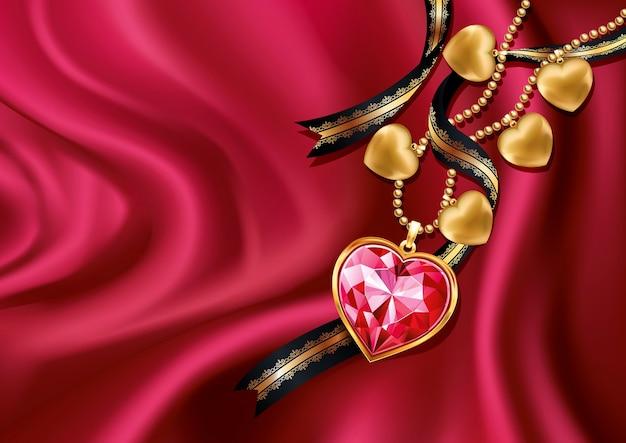Hartvormige hanger in roze diamanten hanger