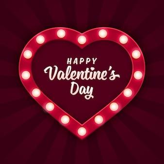 Hartvormige licht bord voor valentijnsdag