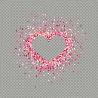 Hartvormige papieren confetti. valentines bloemblaadjes bovenaanzicht.
