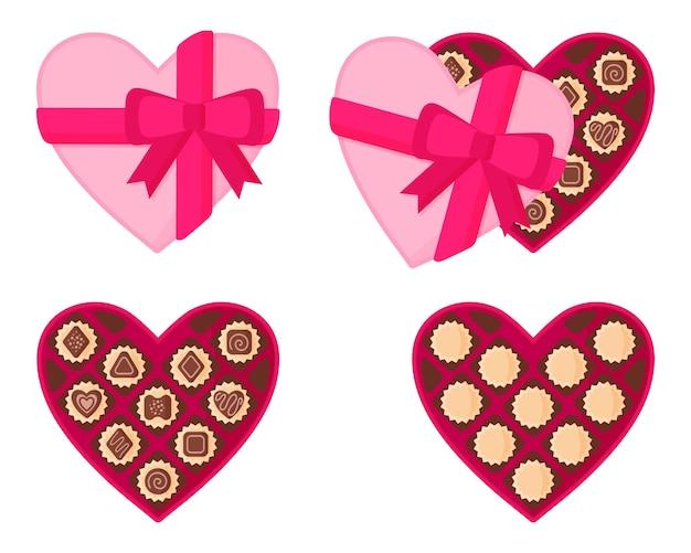 Hartvormige roze doos chocolaatjes.