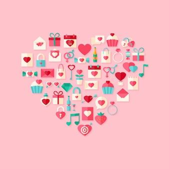 Hartvormige valentijn dag vlakke stijl iconen met schaduw. plat gestileerd object met schaduw