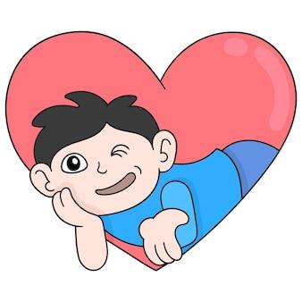 Hartvormige valentijnsdag sticker met man flirten, vector illustratie kunst. doodle pictogram afbeelding kawaii.