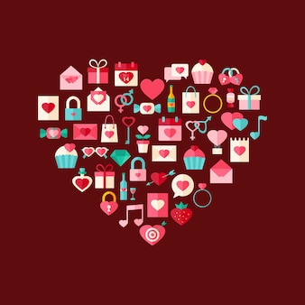 Hartvormige valentijnsdag vlakke stijliconen. platte gestileerde objectenset