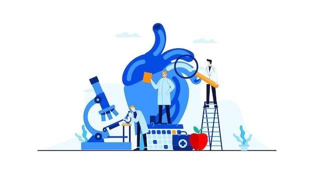 Hartziekte vlakke afbeelding doktersonderzoek voor behandelingsconceptontwerp