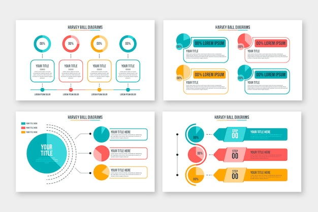 Harvey ball diagrammen met plat ontwerp