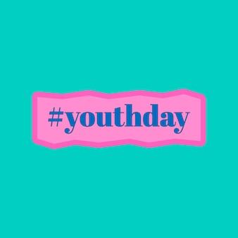Hashtag-jeugddag op een turkooizen achtergrond