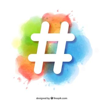 Hashtag-ontwerp met waterverf
