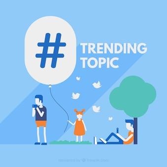 Hashtageachtergrond met personen in openlucht