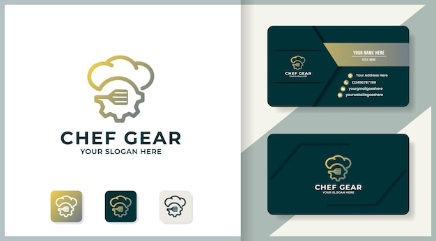 Hat gear spatel inspiratie logo voor modern eten