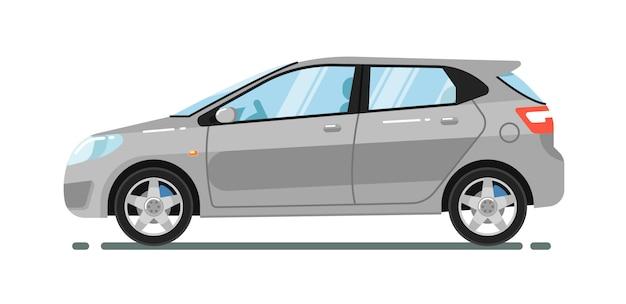 Hatchback stadsauto op wit wordt geïsoleerd dat