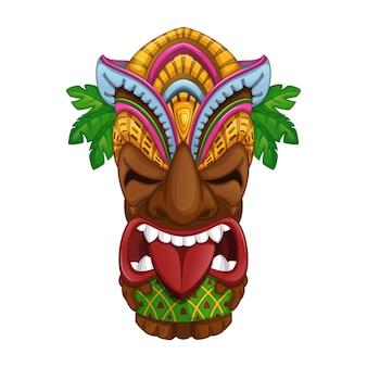 Hatelijke hawaiiaanse tiki-totem.