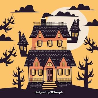 Haunted halloween-huis bij zonsondergang