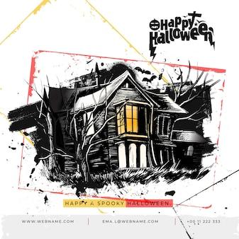 Haunted house happy halloween festival digital concept instagram en social media post-sjabloon voor spandoek.