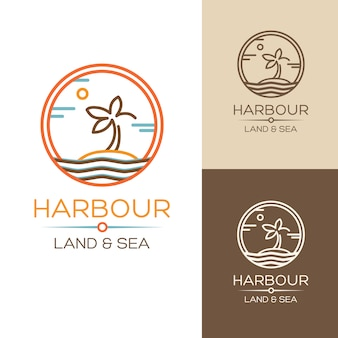 Haven. land en zee. illustraties met palm op het eiland