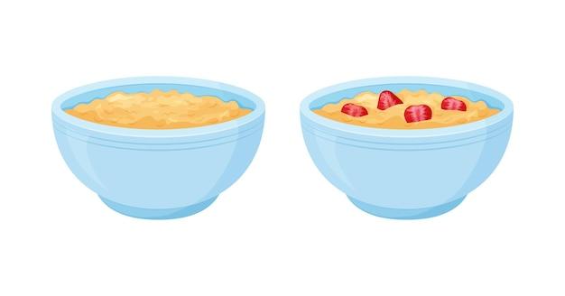 Haver kom. havermoutsnoepje met aardbeienontbijtkop, havermoutpap. cartoon muesli, vlok voor gezonde voeding
