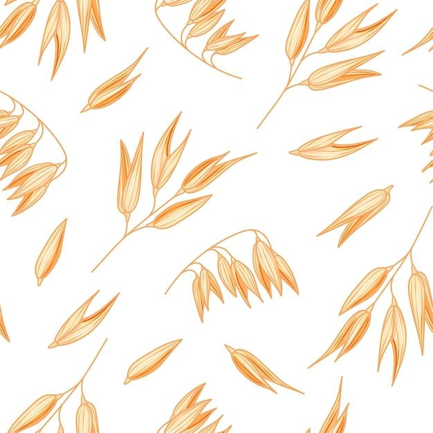 Haver naadloze patroon op witte achtergrond. vector havermout illustratie. spelt tarwe plantenpatroon.