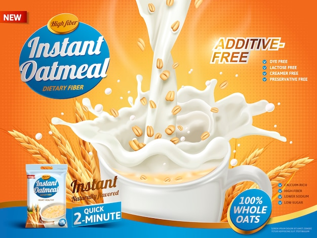 Havermoutadvertentie, met melk die in een kopje wordt gegoten en haverelementen