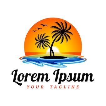 Hawaii aloha beach met sunset view logo template