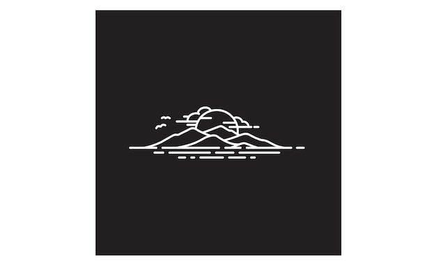 Hawaii island / mountain en sea logo design inspiratie