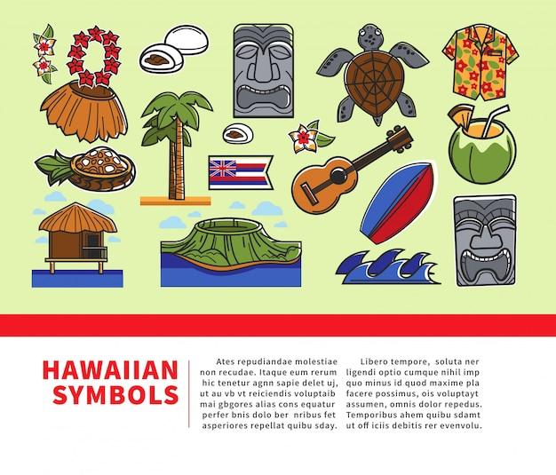 Hawaii reizen welkom poster van hawaiiaanse bezienswaardigheden en beroemde cultuur oriëntatiepunten pictogrammen