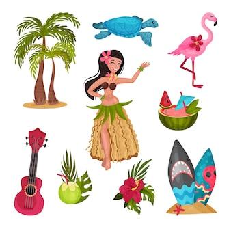Hawaii symbolen set met meisje in een traditionele klederdracht