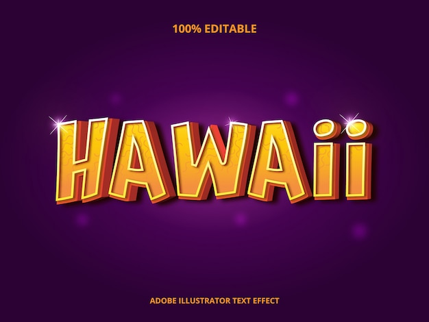 Hawaii tekst, bewerkbaar lettertype-effect