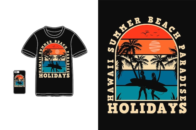 Hawaii zomer paradijs t-shirt design silhouet retro stijl