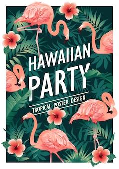 Hawaiiaans feest. vectorillustratie van tropische vogels, bloemen, bladeren.