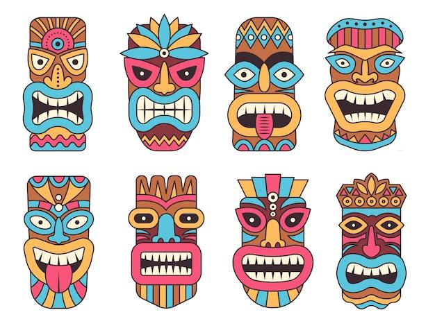 Hawaiiaans masker van tiki god. houten afrikaans beeldhouwwerk