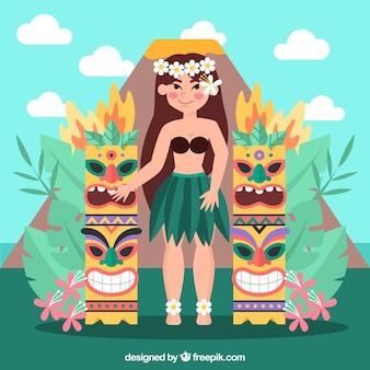Hawaiiaans meisje met tiki totems