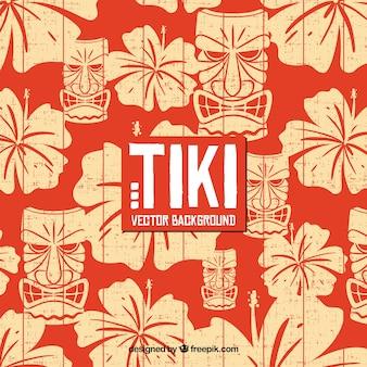 Hawaiiaanse achtergrond met bloemen en tiki masker