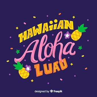 Hawaiiaanse luau van letters voorziende achtergrond