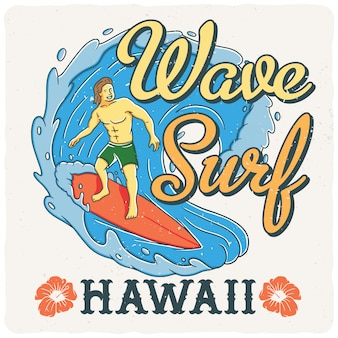 Hawaiiaanse surfer op de golf