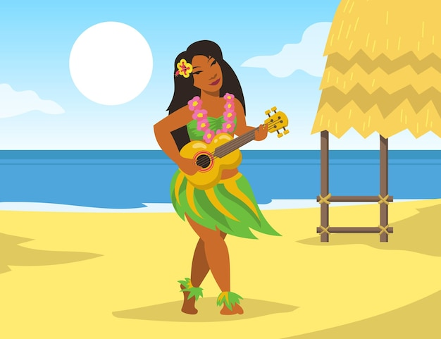 Hawaiiaanse vrouw die in klederdracht ukelelegitaar op strand speelt