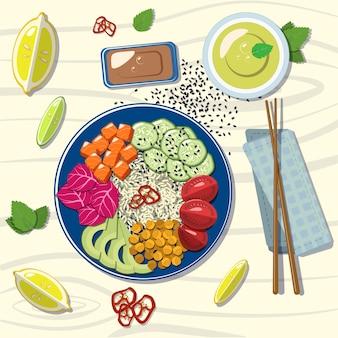 Hawaiiaanse zalm met avocado, rode kool, komkommer, rijst, citroen, limoen, groene thee, muntblaadjes, sesamzaadjes.