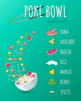 Hawaiian poke tuna bowl met greens en groenten.